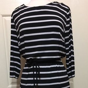 Liz Claiborne B&W stripes with pink